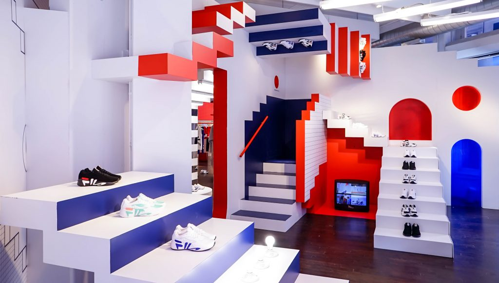 The Fila pop-up shop in Soho, using nostalgia to draw attention